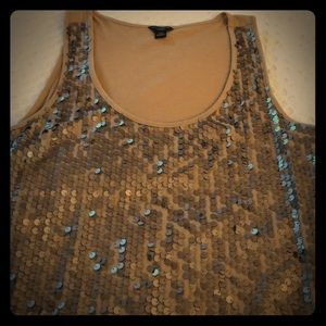 Gold sleeveless sequined tank top